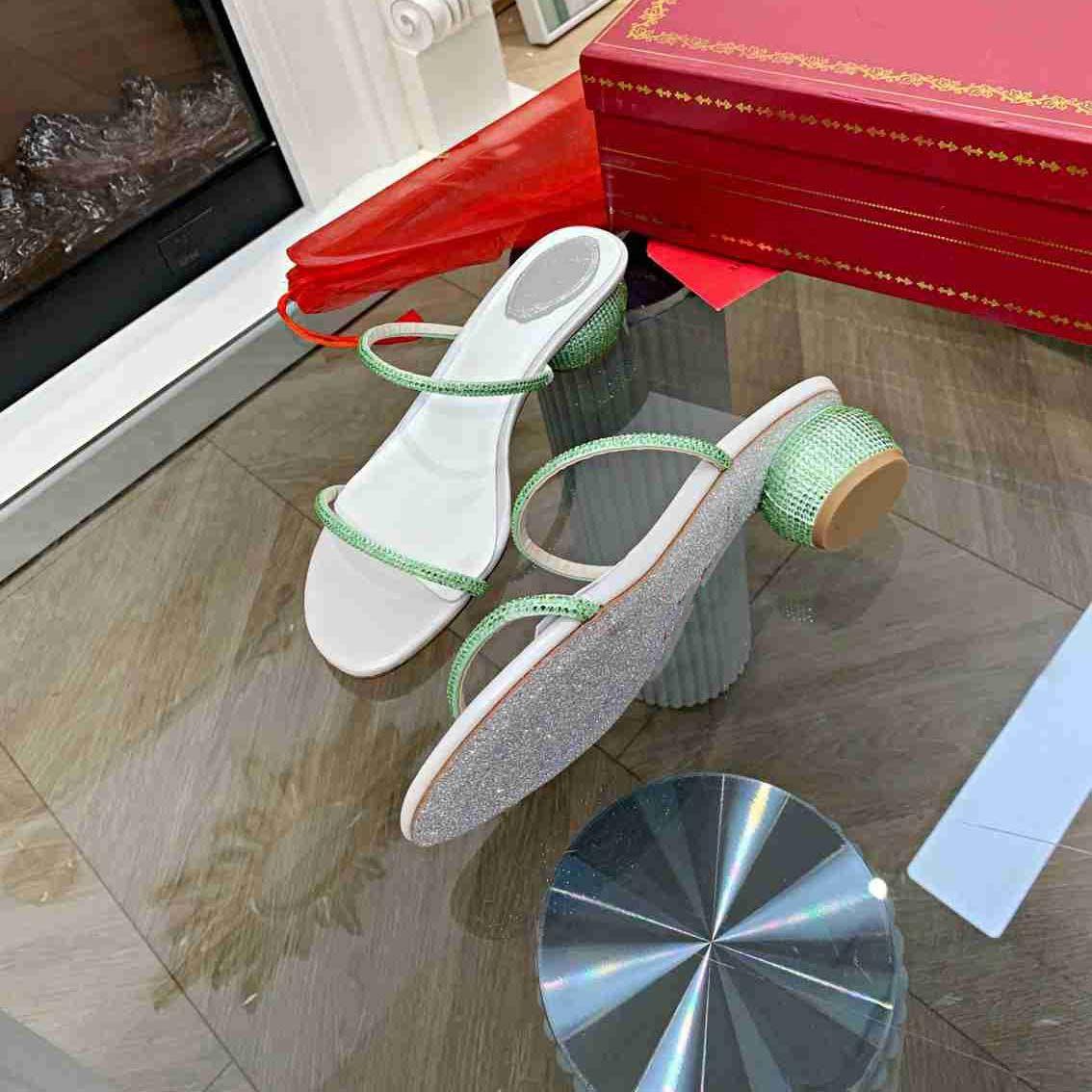 Toboganes de playa de rayas Ladies 3,8 cm zapatillas Dos tiras Diseñador Pink Grass Green Brand Bordado Sandalia Floral Brocado Flip Flobs