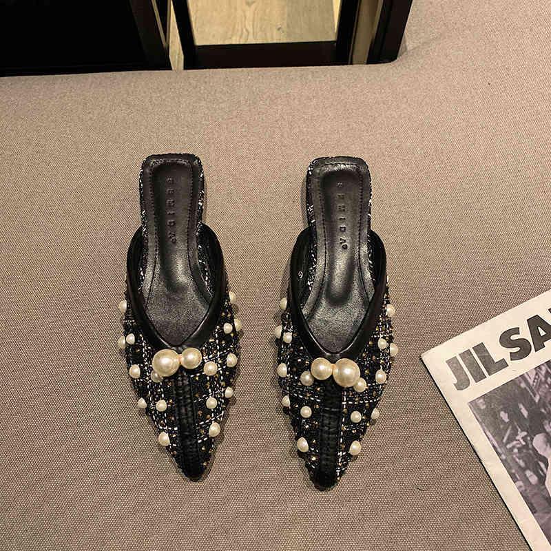 Zarif Boncuk Dize kadın Düz Sandalet Keçe Üst Yaz Lefu Terlik Dantel Siyah Ve Beyaz Dikiş Lady Slayt