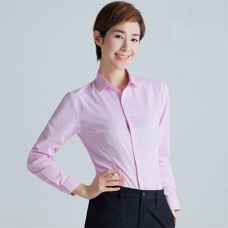 Kore Kadınlar Pamuk Gömlek Beyaz Gömlek Kadınlar Uzun Kollu Gömlek Tops Ofis Lady Pembe Gömlek Bluzlar Artı Boyutu Kadın Bluz 5XL 210323