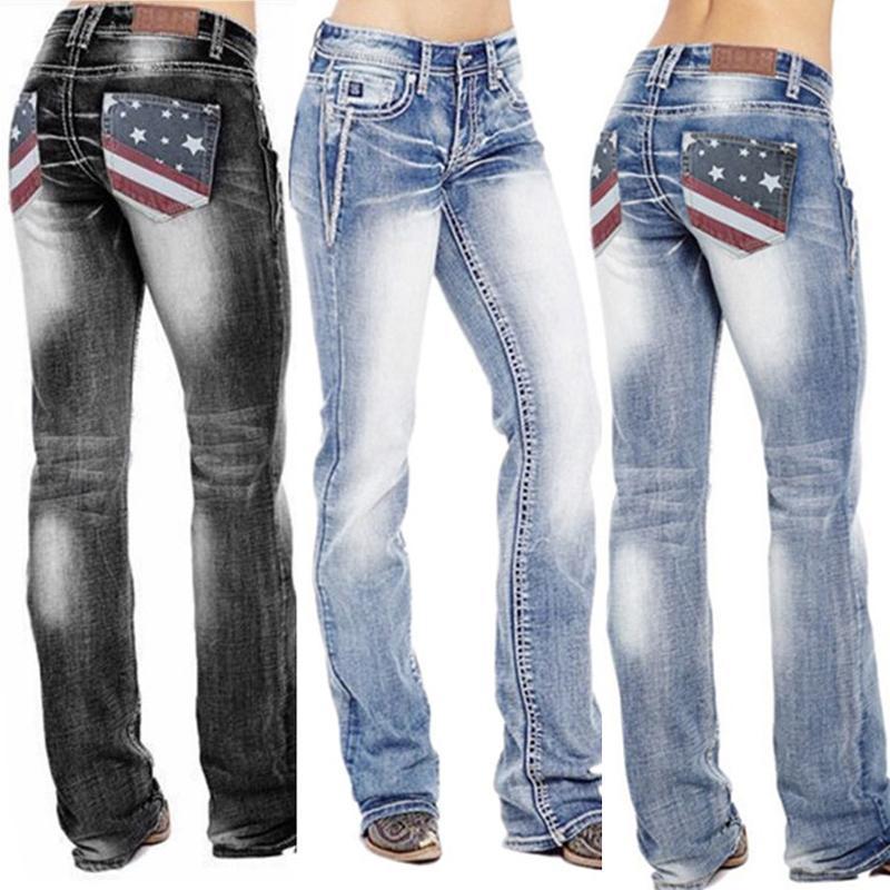 Bandera estadounidense estiramiento lavado bootcut jeans para las mujeres pantalones vintage de cintura alta DSA1