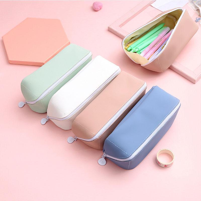 Kawaii فرشاة التجميل حقيبة بسيطة مضلع ماكياج للماء القرطاسية أكياس الإبداعية الاصطناعي pu مقلمة الحالات لون الصلبة