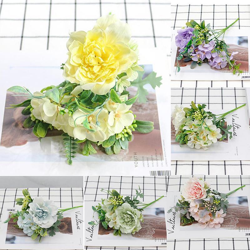 Rosa bouquet artificiale peonia di seta fiore fai da te rosa ortensia plastica falso fiori decorativi fiori corone