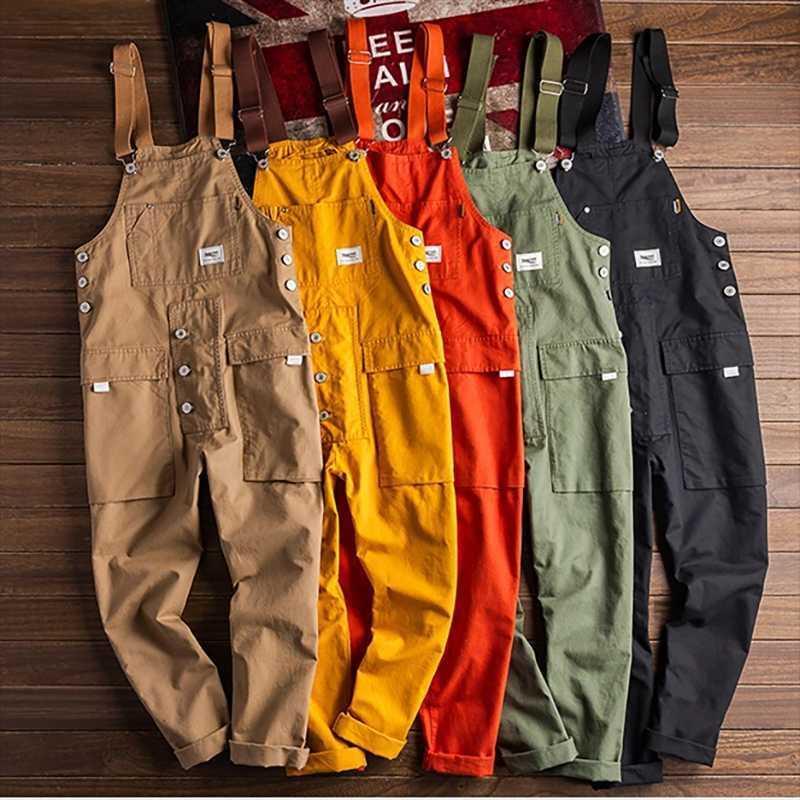 Pantaloni da uomo Bib Bib Bib Bib Allentato da uomo Pantaloni multi-tasca Casual Casual Bretelles Tute Pagliaccetti Indossare Cavernall