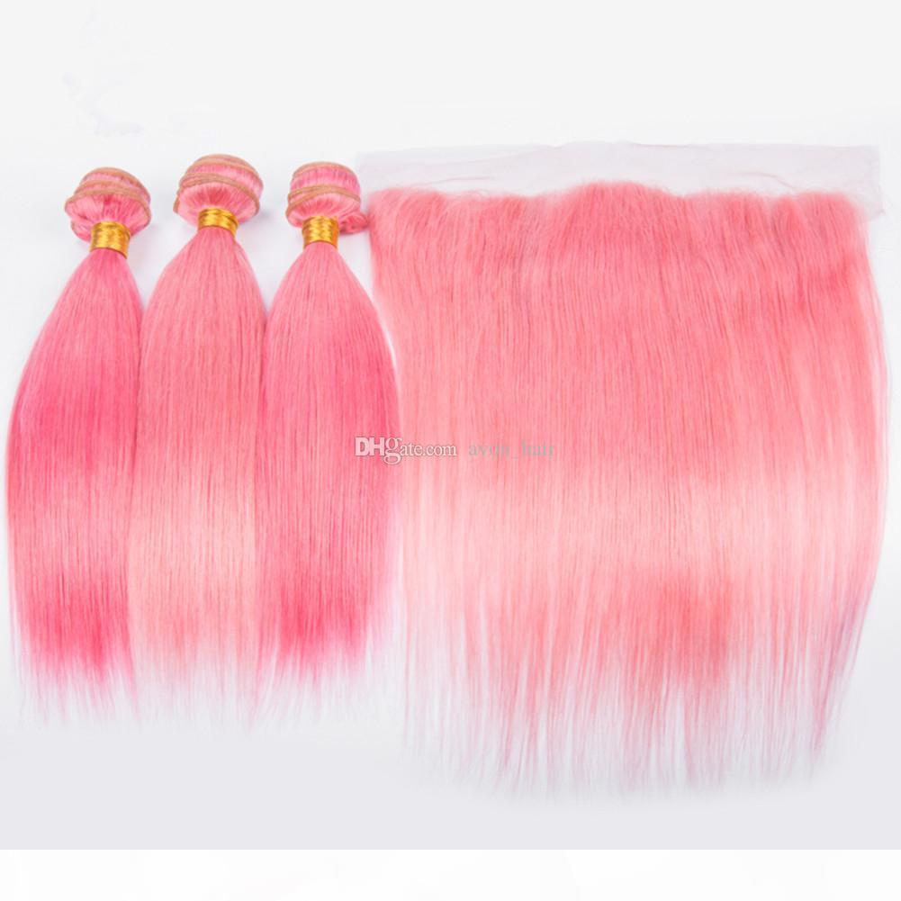 Beleza rosa de seda retas de cabelo de seda 3bundos com livre parte frontal cor rosa cor a orelha frontal com cabelo virgem tecida 4 pcs lote