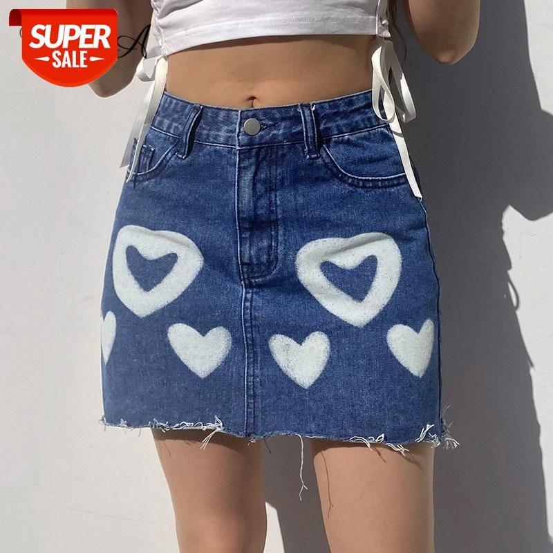 2021 cintura alta saias demin mini mulheres uma linha coração impressão verão casual sexy y2k saia curto vintage moda # uo8v