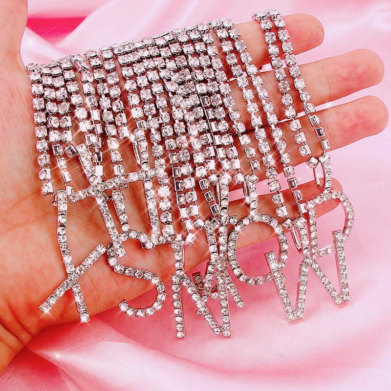 Carraquet gelo fora a-z letra inicial pingente de pingente de prata cor tênis cadeia gargantilha colar feminino moda declaração jóias