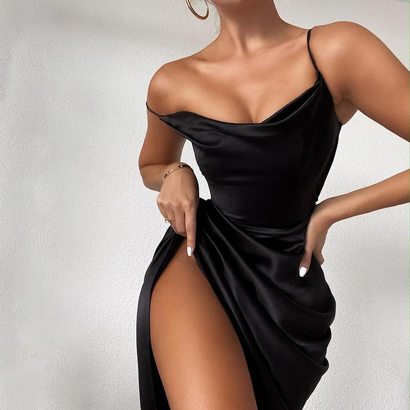 2021 New Fashion Women Solid spaghetti sandes Backless Mouwlless Solid Sexy dresses Ladies casual evening party Warm Midi dress