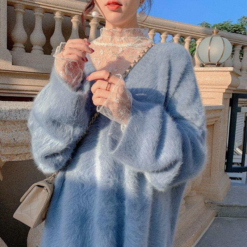 Fleece Pullover Frauen Winter Warme Dicke Süße Pullover Weibliche Lose Japanisch Kawaii Koreanische Mode Tops 210512