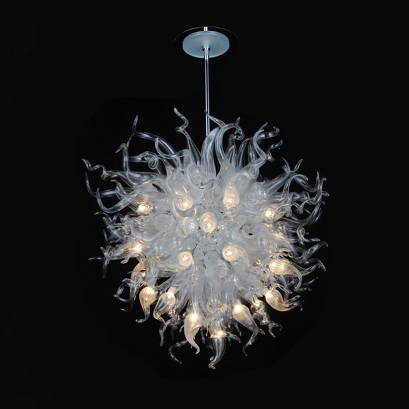 Lámpara de cristal soplado a mano lámpara elegante arte decoración blanco color led araña iluminación iluminación accesorio para sala de estar restaurante decoración