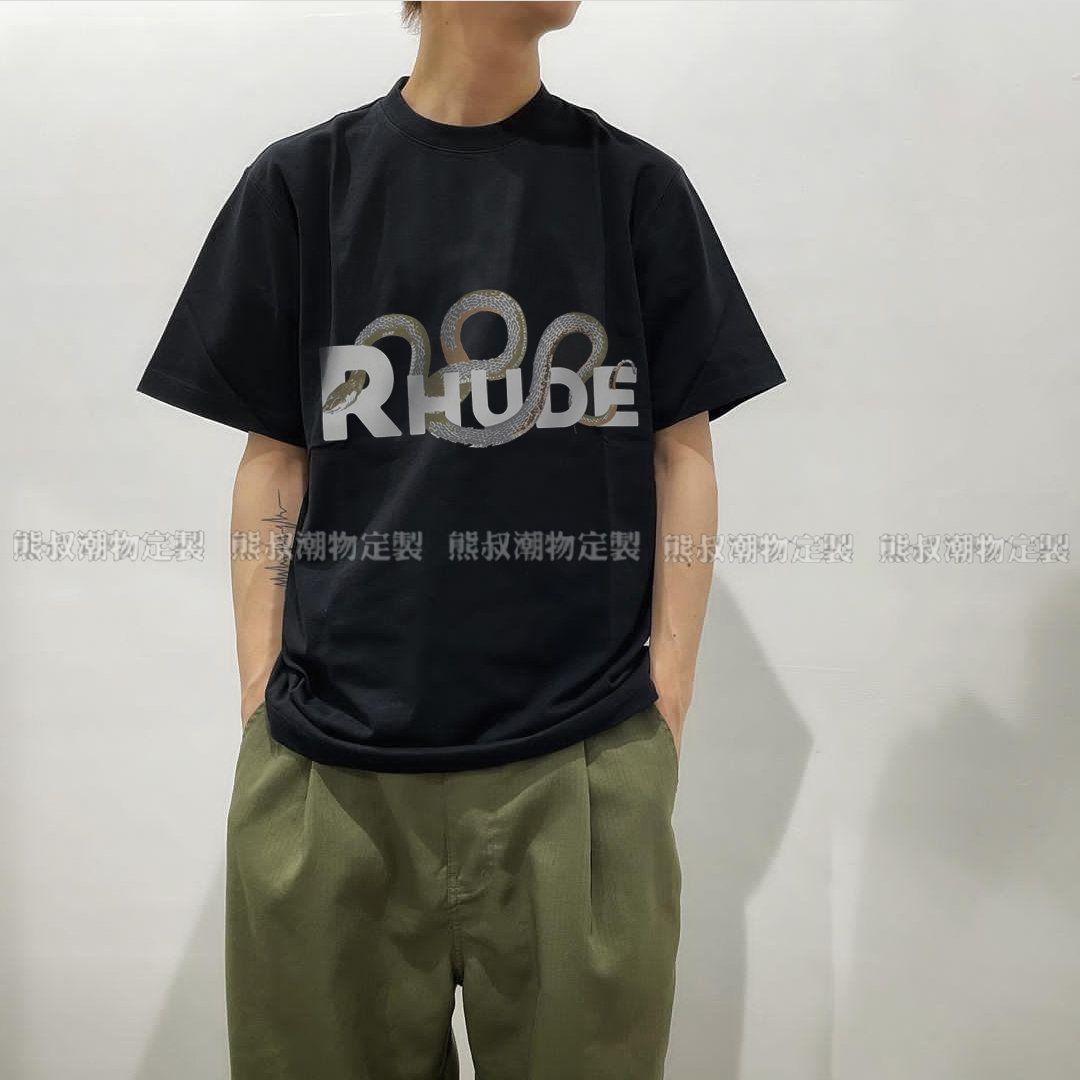 Brand Ins Rhu T shirt Rhude 21ss three dimensional plate snake bone print high street loose oversize short sleeve T-shir