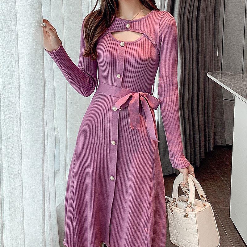 Лук ютные жемчужные кнопки Элегантное вязать платье женщин сплошной пустостойкий с длинным рукавом средняя длина высокая талия сладкие платья девушки 2021 новый 210319