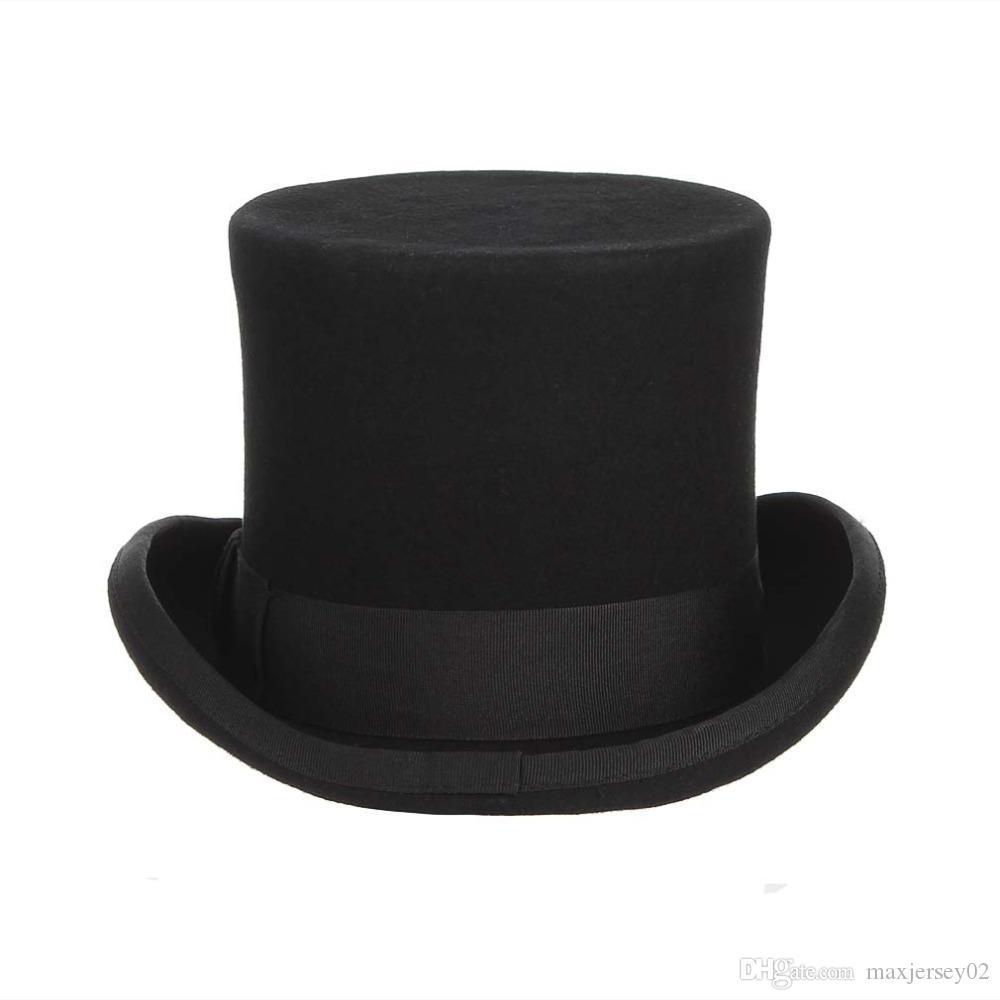 أفضل gemvie 13.5 سنتيمتر 100٪ الصوف فيلت أعلى قبعة للرجال فيدورا للنساء جنون hatter حلي اسطوانة قبعة رجل ديربي قبعة الساحر كاب