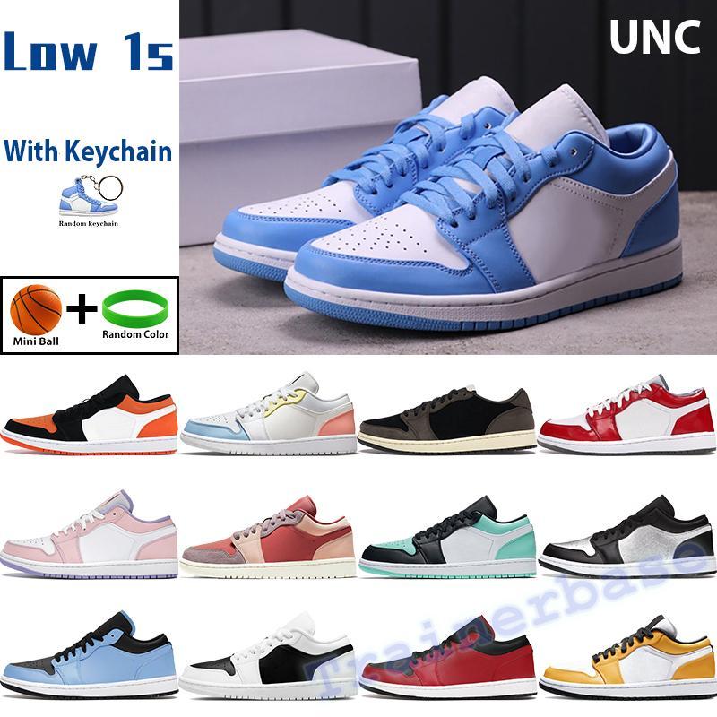 UNC Low Air Jordan 1 1S Баскетбольная обувь Мужчины Женщины Кроссовки Университет Синий Кактус Изумрудный Ног Каньон ржавчиной Свет дыма Серый Мужские спортивные тренажеры