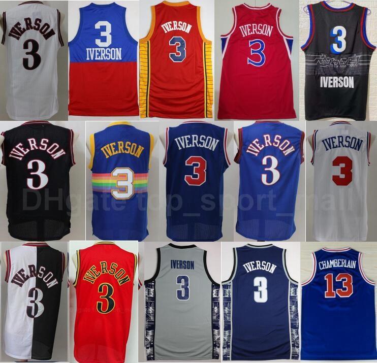 Georgetown Hoyas College Allen Iverson Jersey 3 Männer Basketball Wilt Chamberlain blau grau Schwarz Weiß Rot Grün Gelb Gute Qualität