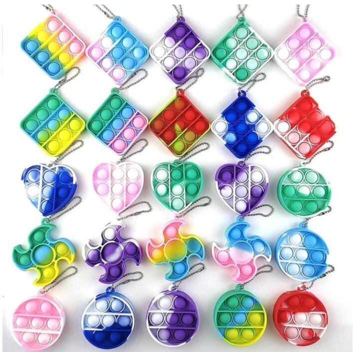 DHL 3-7 Tage Lieferung Push Bubble Keychain Fidget Spielzeug Teig Dekompression Spielzeug Schlüsselanhänger Anti Stress Board CJ12