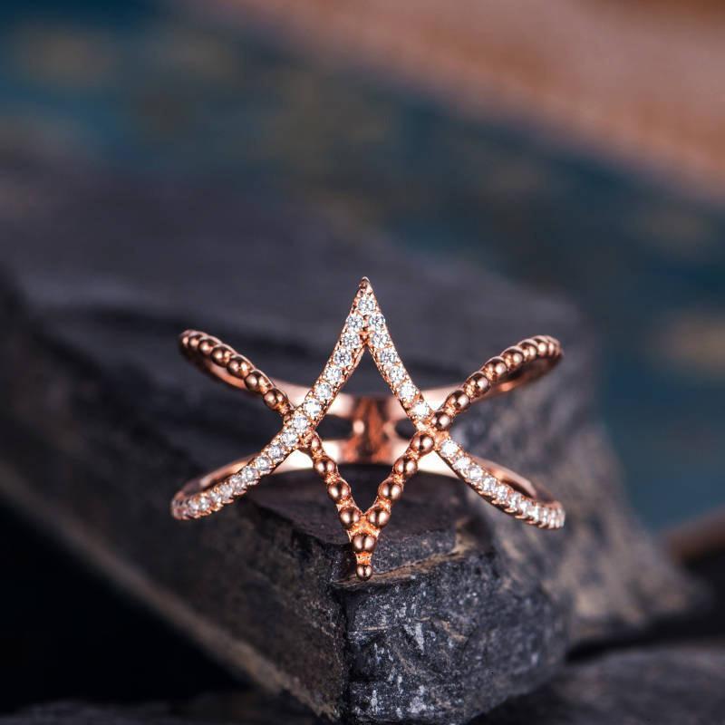 Ring Possina Schmuck Rose Gold Kreuz Diamant Inlaid White Damen Mode Einfaches Temperament