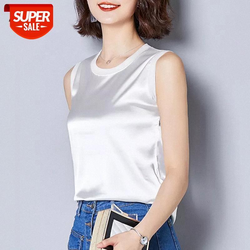 T-shirt Plus Size Seda Branco Blusas Mulheres Verão Sem Mangas Chiffon Senhoras Tops Roupas Coreanas Solta Sexy Black Office Blouse Blouse Party # vz3d