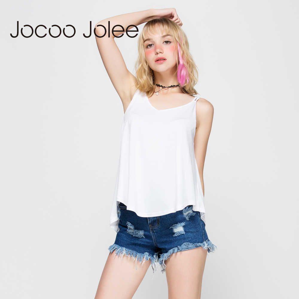 JOCOO Jolee Rahat Yaz Camiş Kadınlar Için Katı Renk Gevşek Yelek Tops Tees 4 Renkler Kadın Kaşkorse Tankı Kadın Moda T-Shirt 210619