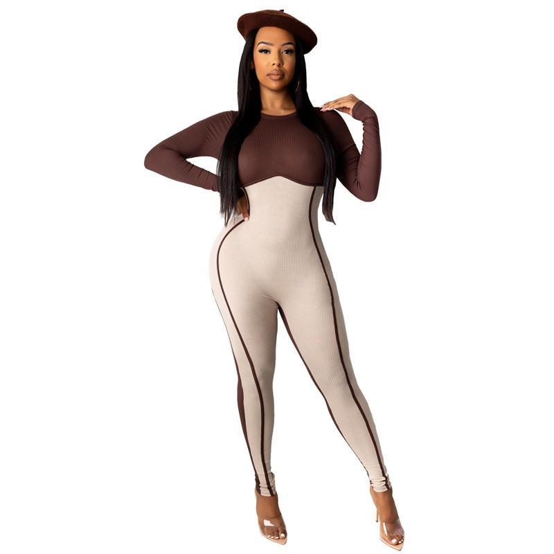Moda para mujer con paneles Romper Casual Contraste Color Damas Skinny Pumpsuits Sexy Crew Cuello Cuello Designer Ropa para mujer