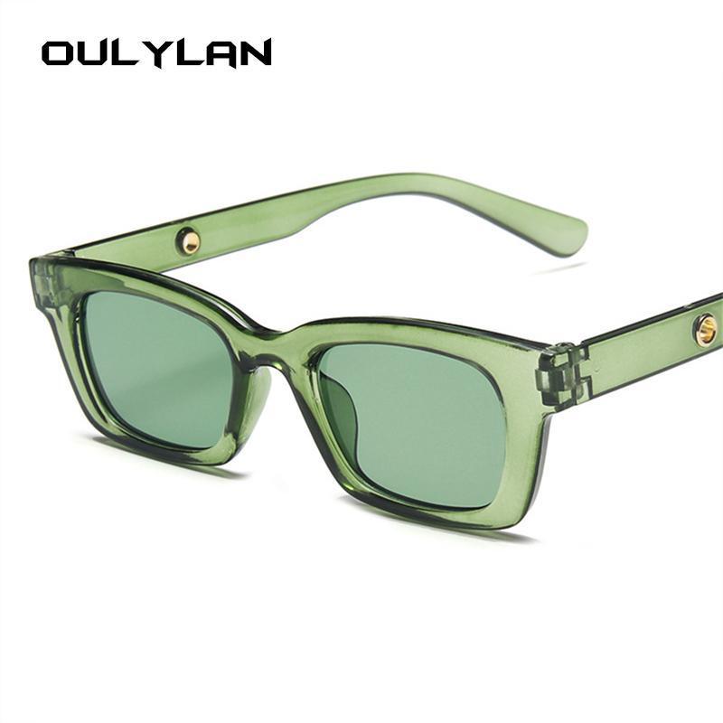 Outlan Rechteck Sonnenbrille Frauen Männer Transparente Süßigkeiten Farbe Kleine Sonnenbrille Moderne schmale Rahmen Eyewear UV400