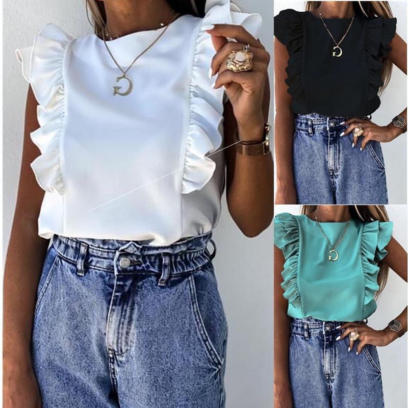 2021 Camisa de manga corta de manga corta con volantes sólidos de verano