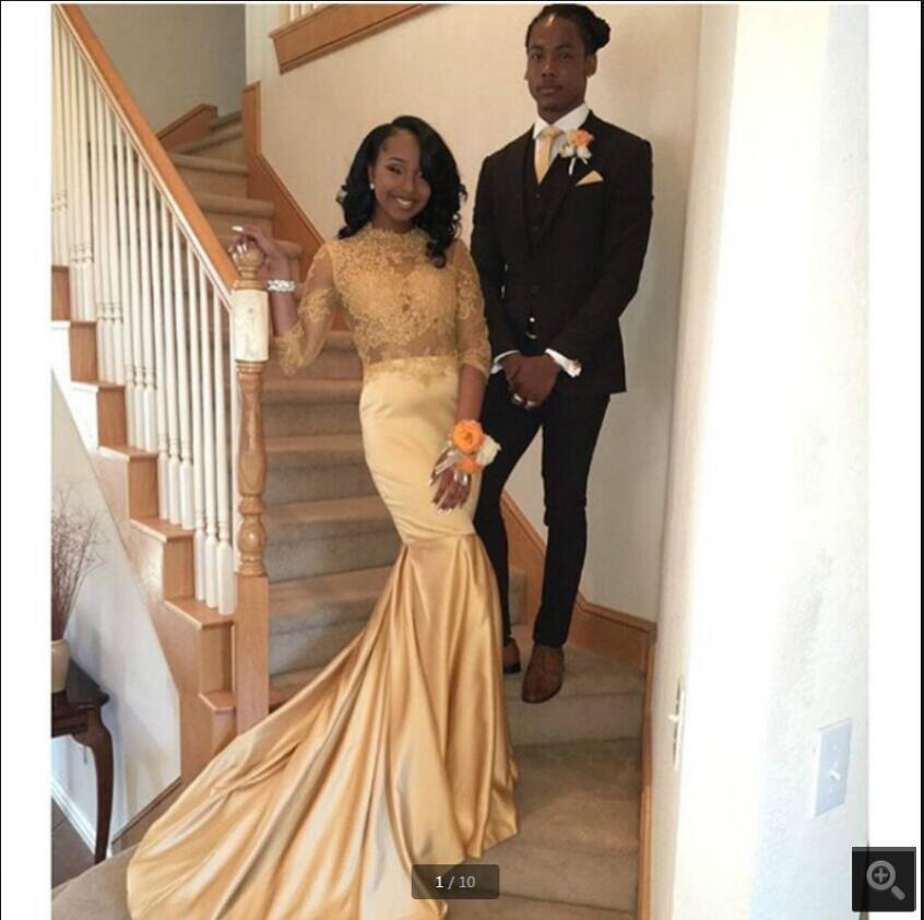 Gold Satin Mermaid Prom Dresses Beaded Lace Appliques High Neckline With Long Sleeve Modest Evening Gowns Court Train Muslim