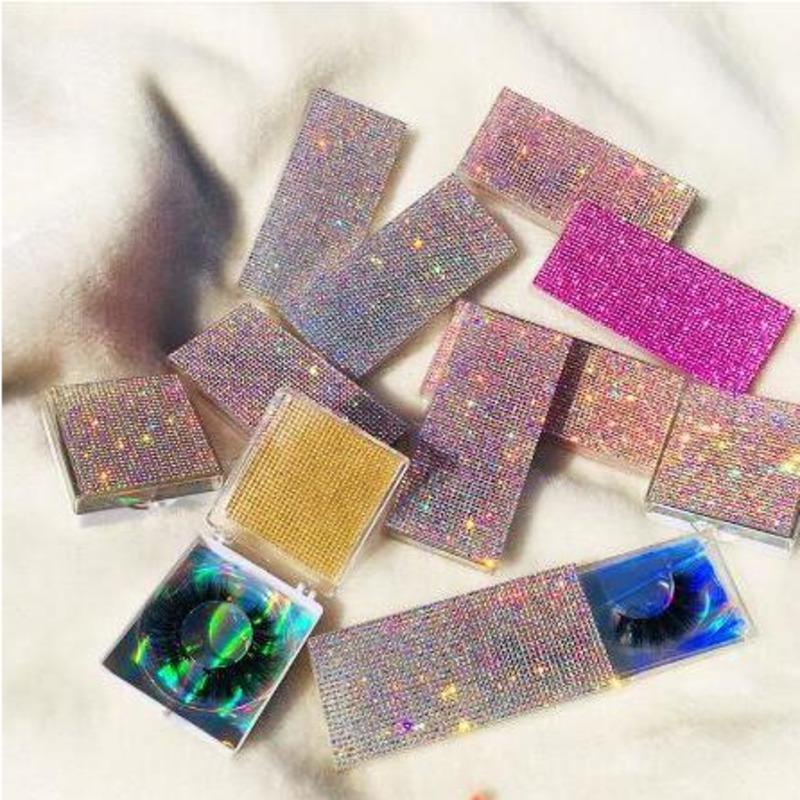 Glitter Rhinestone Lash Case Mink Eyelashes Empty Custom Packaging Box Glitter Rhinestone Lashes Cases Without Eyelash