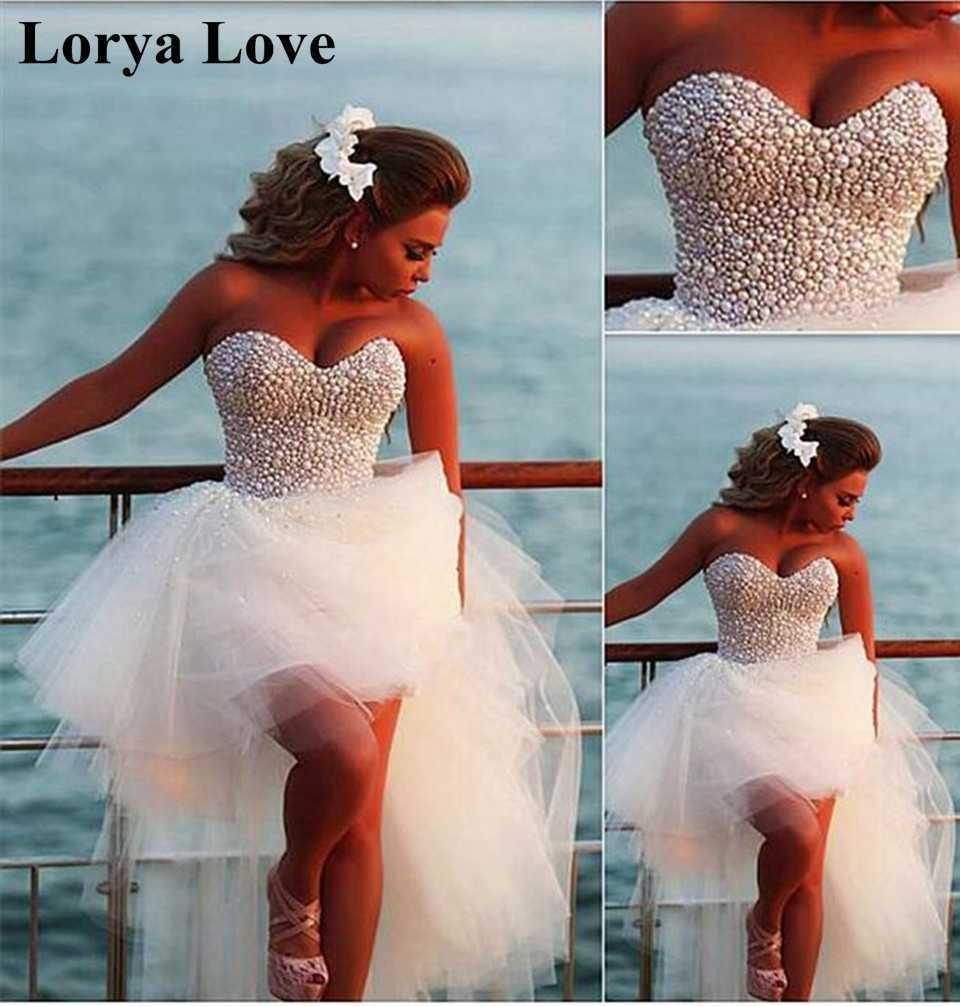 Short Front Long Back Cocktail Dresses 2020 White/Ivory Beading Crystal Tulle Prom Gowns Women Evening Party Homecoming Gowns H0916