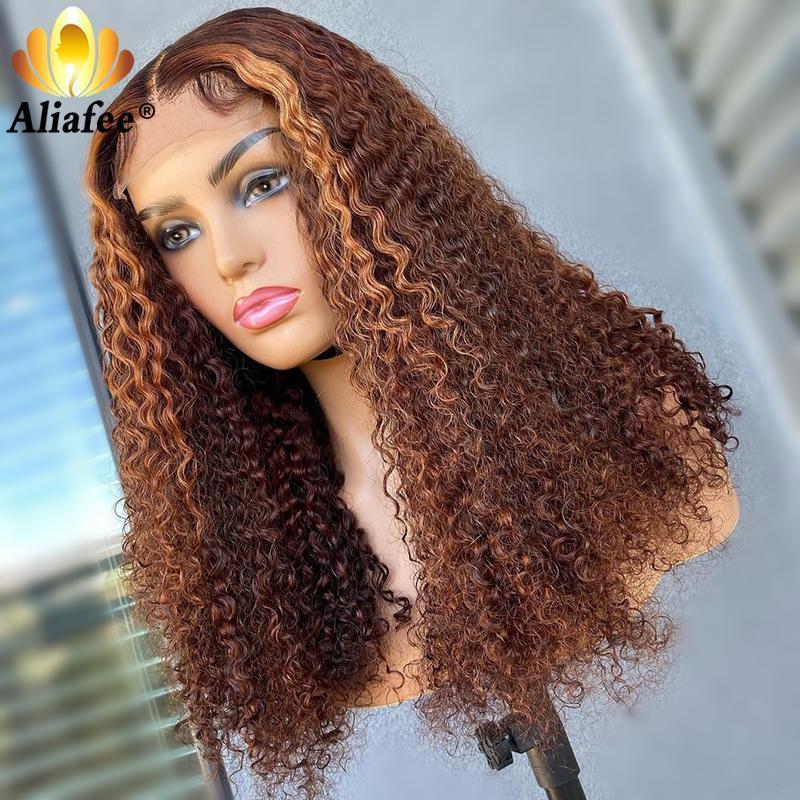 Transparente 30-Zoll-braune Honig blonde Farbe verworrene lockige 4x4-Spitze-Verschluss-Human-Haar-Perücken Perücke vorgeptet für schwarze Frauen