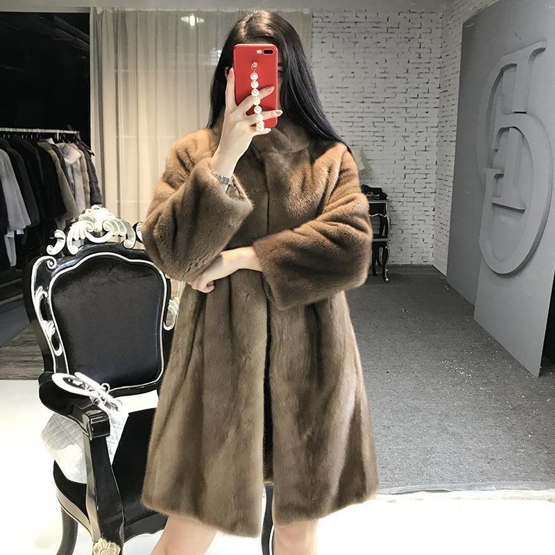 진짜 여성 긴 코트 만다린 칼라 겨울 슬림 따뜻한 두꺼운 전체 자켓 여성 가짜 모피
