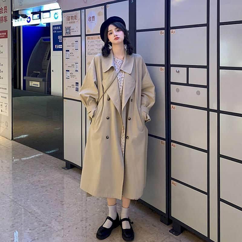 여성의 윈드 브레이커 재킷 높은 거리 봄 가을 2021 한국어 느슨한 드레이프 코트 중간 길이 영국 일본식 트렌치 코트