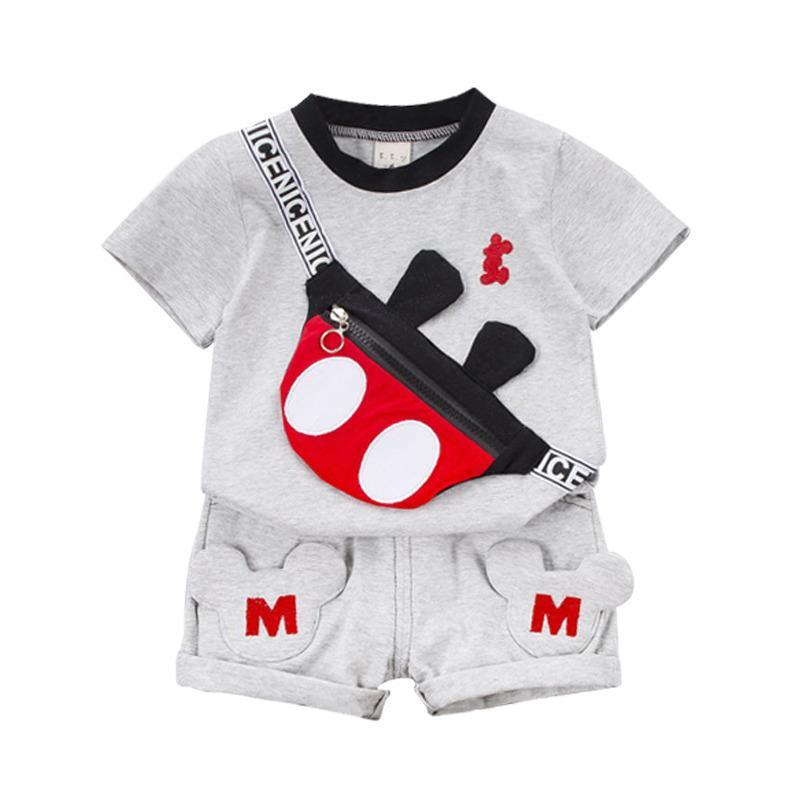 Yeni Yaz Bebek Giysileri Takım Elbise Çocuk Moda Erkek Kız Karikatür T Gömlek Şort 2 Adet / takım Toddler Rahat Giyim Çocuk Eşofman LJ200916
