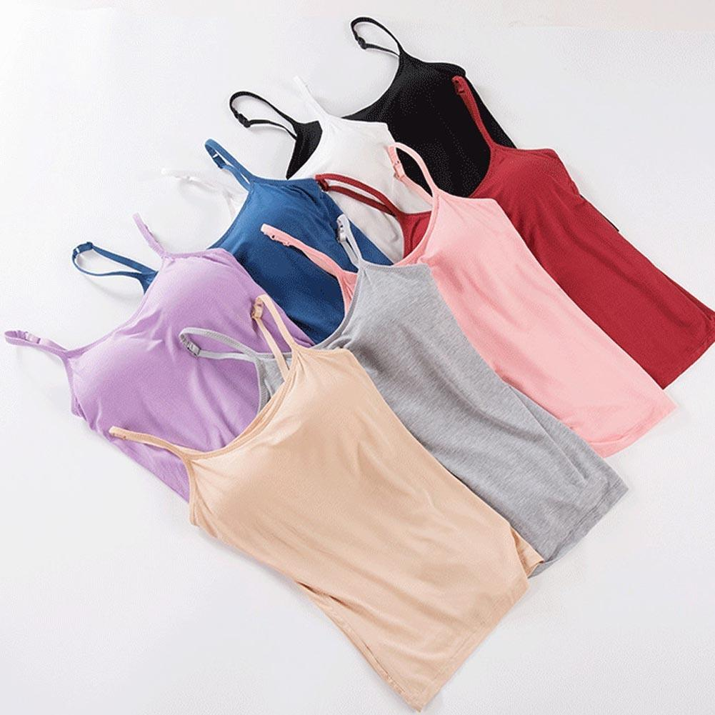 Padded Tank Women Modal Spaghetti Solid Cami Top Vest Female Camisole With Built In Bra Fitness Clothing