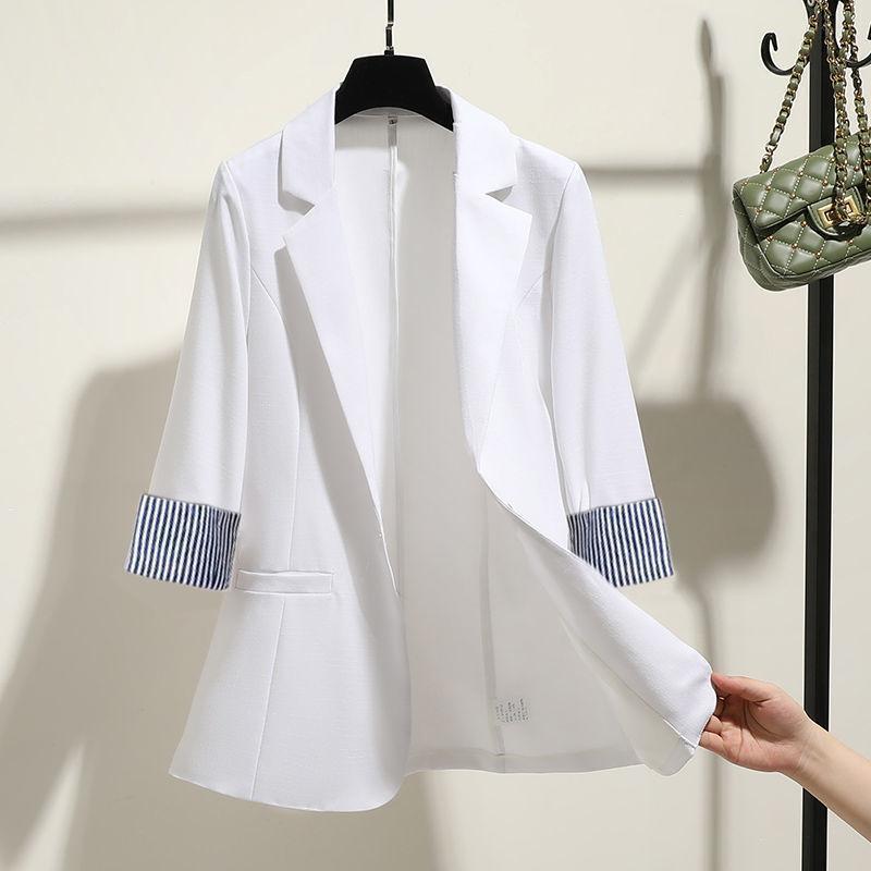 الربيع الصيف المرأة سترة 2021 الأزياء حقق طوق ثلاثة أرباع الأكمام البدلة سترة الإناث فضفاضة المعتاد مكتب معطف الدعاوى الحلل