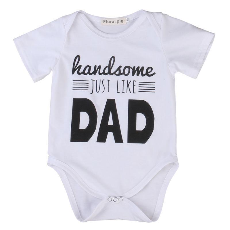 Rompers родившиеся малышом младенческий мальчик белые буквы печати боди лето с коротким рукавом вскользь джентльмен наряды модный