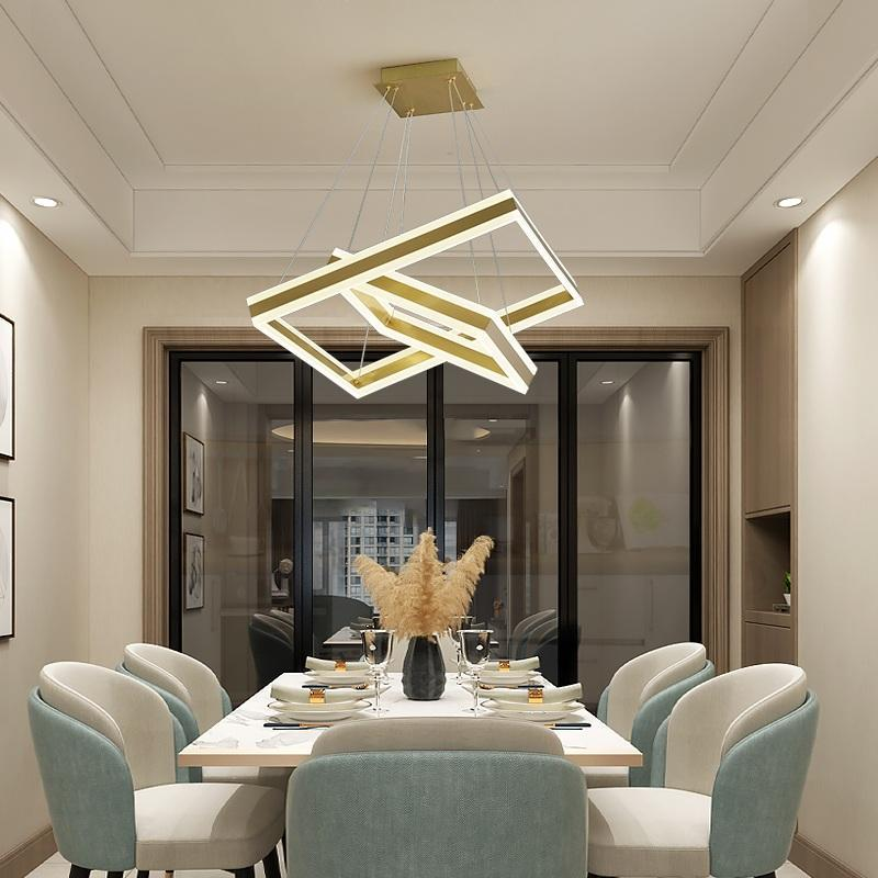 Pendant Lamps Rectangle/Square LED Chandelier Living Room Bedroom Dining Study Commercial & Office Lighting