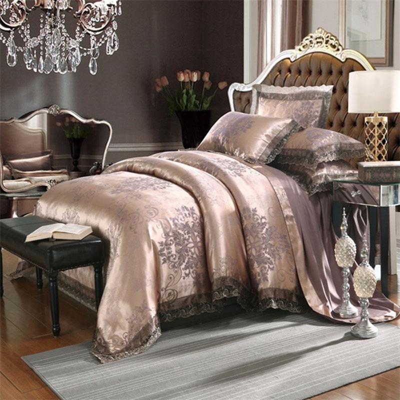 النمط الأوروبي الجاكار أربعة قطعة غطاء لحاف مجموعة الدانتيل السرير الكتان مجموعات الفراش بالجملة