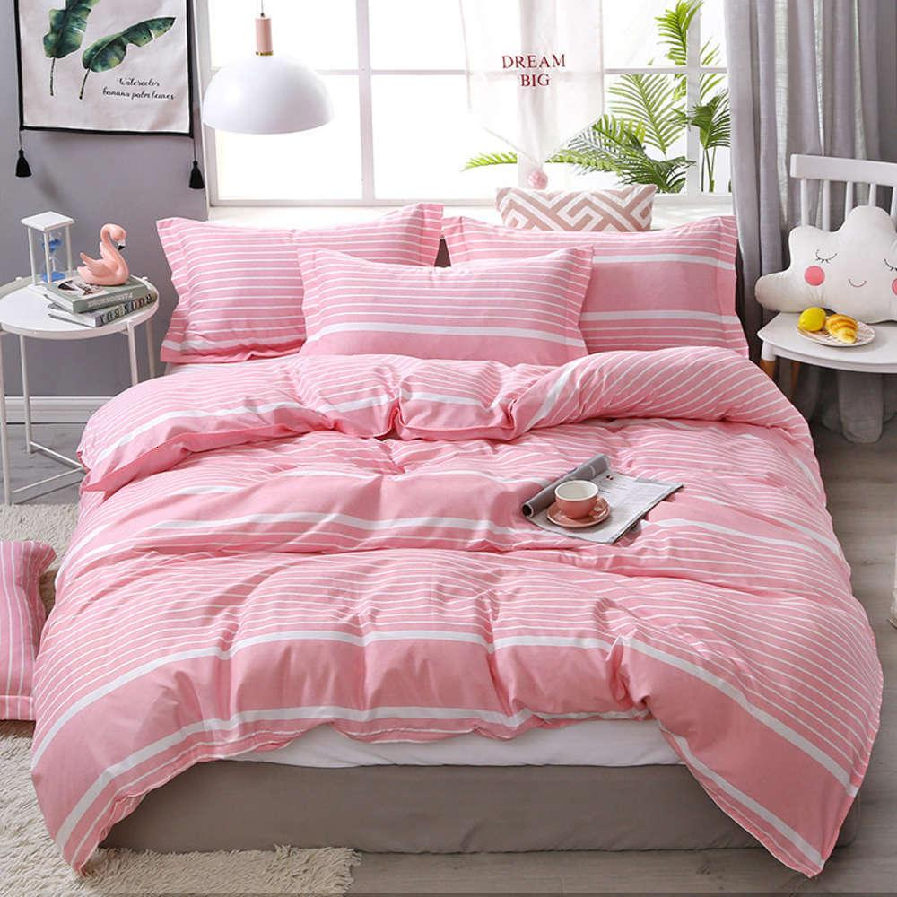 Home Textiles Dog Apparel Simple Cute Peach Comforter Bedding Pink Linens Duvet Cover Sheets and Pillowcas Bed Set Queen King Twin Size 3/4pcs