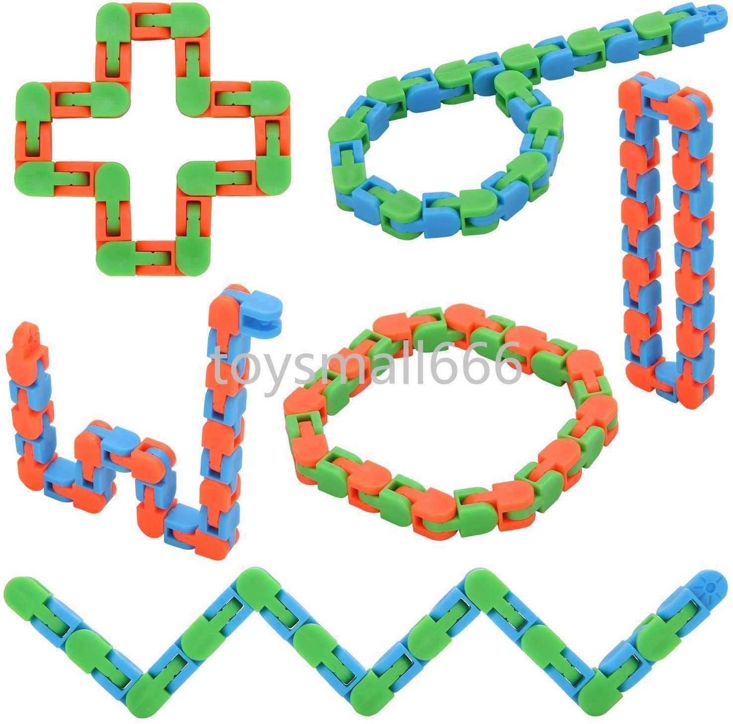 24 Links Wacky Tracks Snap And Click Fidget Toys, Finger Sensory Toys, Snake Puzzles For Stress Relief, Party Bag Fillers