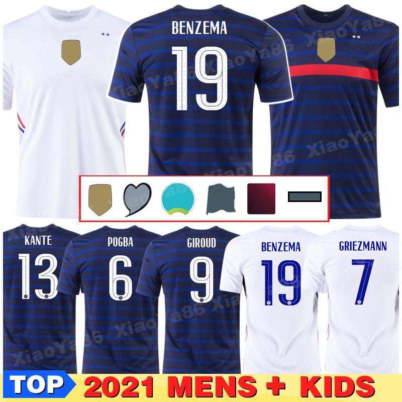 Euro 2020cup Benzema Mbappe Griezmann França Jersey Pogba Giroud Kante Kante Maillot de Foot Equipe Maillots Camisa de Futebol Fardos La 2021 Men + Kids Kit