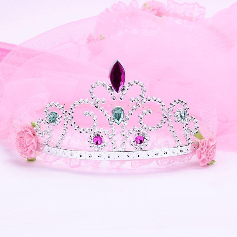 Детские девочки свадебные волосы полость бабочка Tiara Crown Princess цветок венок ювелирные изделия горный хрусталь сетки вуаль день рождения оголовье