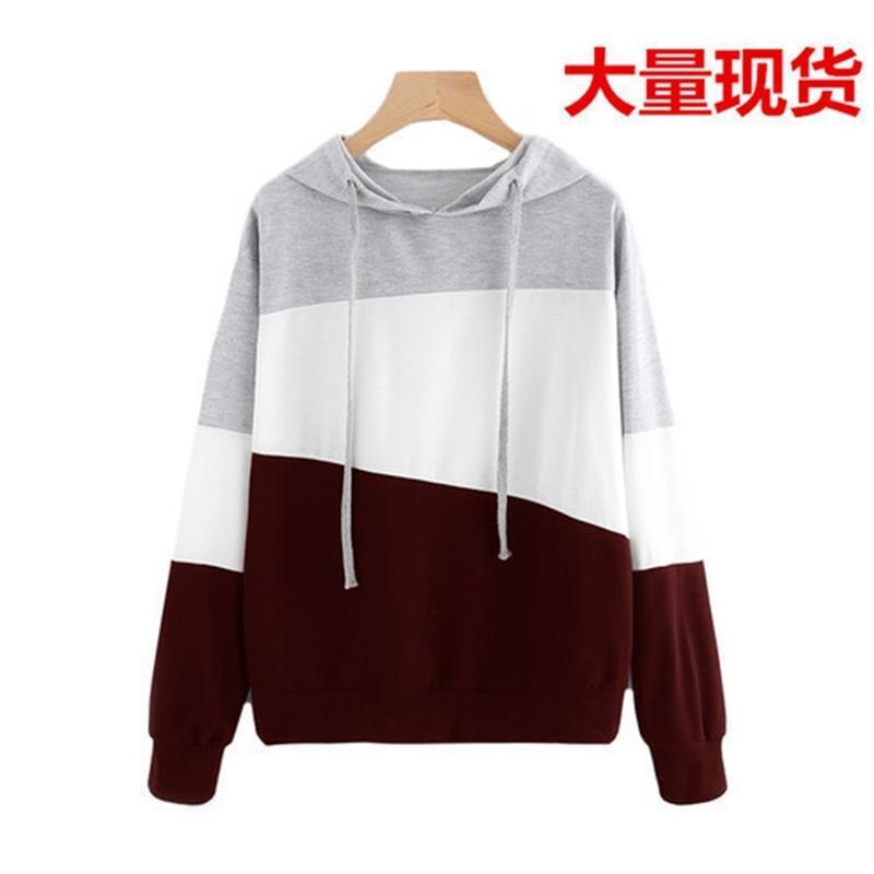 Hoodies outono e inverno 2021 camisola manga comprida em splicing cor combinando top femininas com capuz