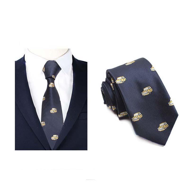 WindJ Polyester Necktie Men Old Car Catoon Blue Navy Red Business Neck Ties