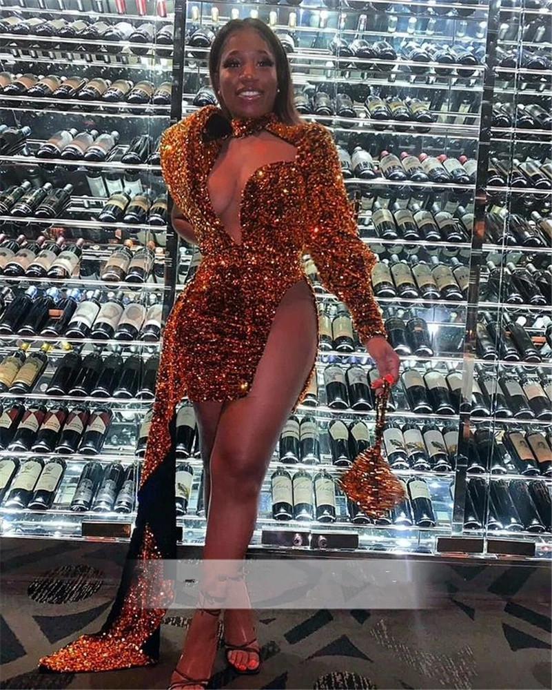 Sparkly Orange Sequins Prom Dress One Shoulder Real Picture African Black Girl Short Cocktail Evening Dresses 2021