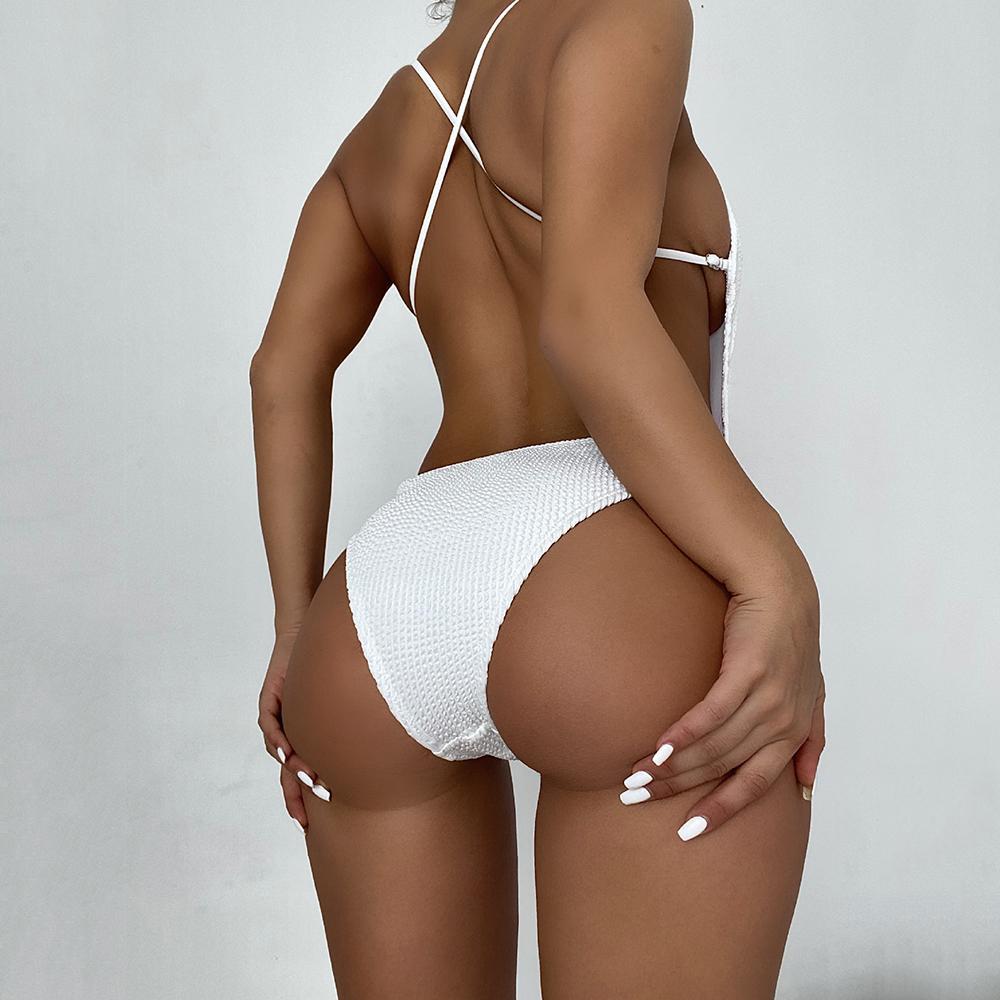 Sexy Cross Backless One Piece Traje de baño Mujer Bikini 2021 NUEVO Traje de baño Mujer Monokini Bathing Trajes de baño Summer Beach Weave Swim Lady