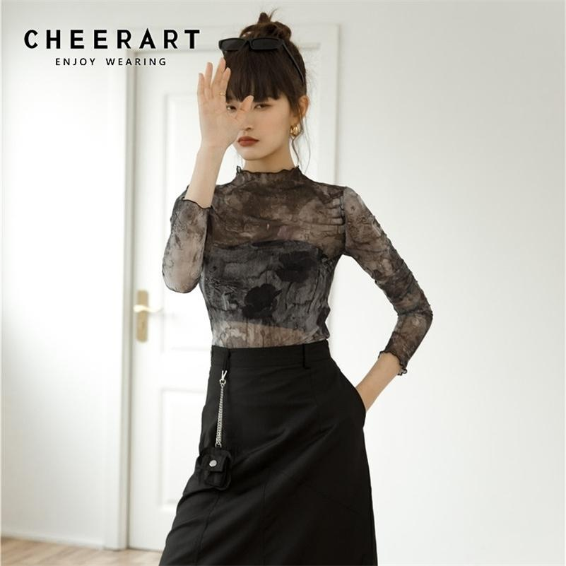 CheerArt Tulle прозрачный верхний с длинным рукавом футболка женские абстракции печать Смотреть через дамы верхняя женская одежда 210317