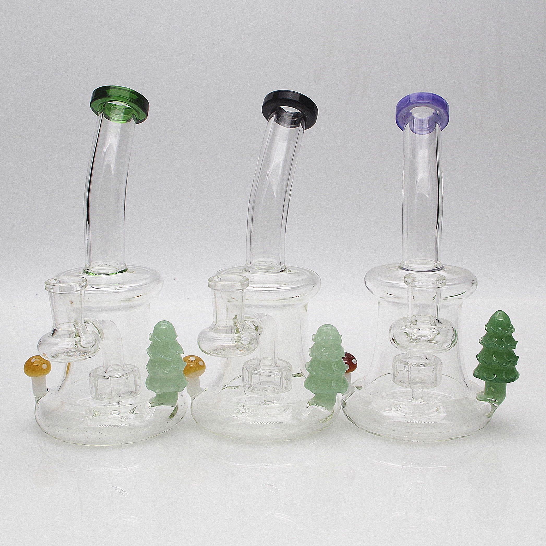 Glass Bong Hookah com Árvore de Natal Recycler Dab Dab Tubulação de fumo Único PERC 8 polegadas Altura Waterpipe