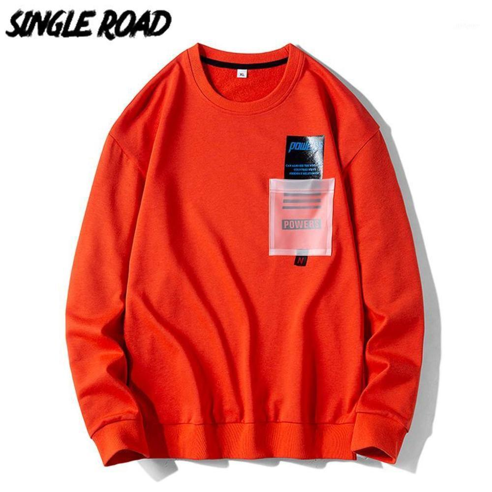 Single Singleroad Crewneck Sweatshirts Hommes Street Japonaise Streetwear Hop Hip Jaune Jaune Orange Sweats Sweat-shirt Sweatshirt Male Hoodies1