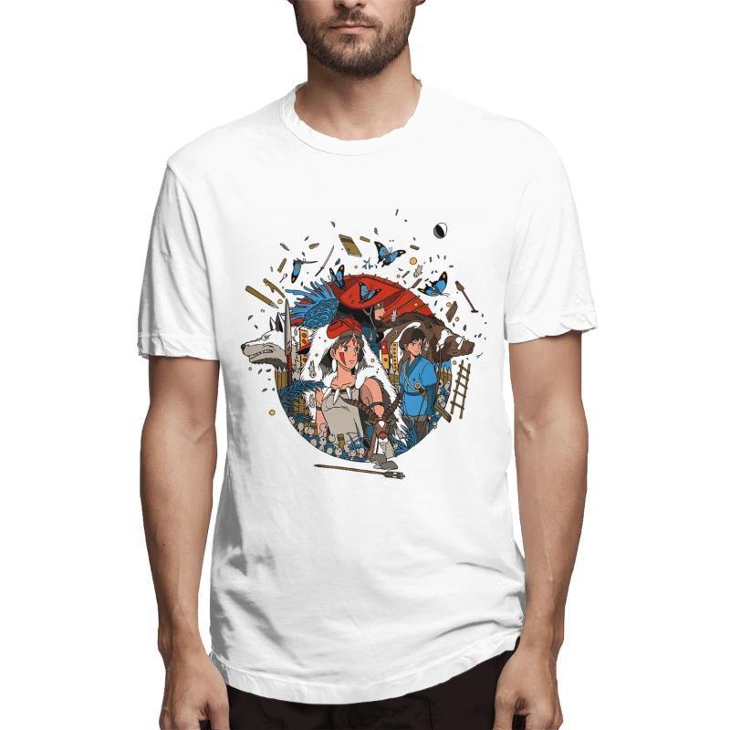 Erkek T-Shirt Mavi Miyazaki Hayao Prenses Mononoke Anime Manga Moda 2021 Kısa Kollu Yuvarlak Yaka Saf Pamuk Yaz T-shirt Komik