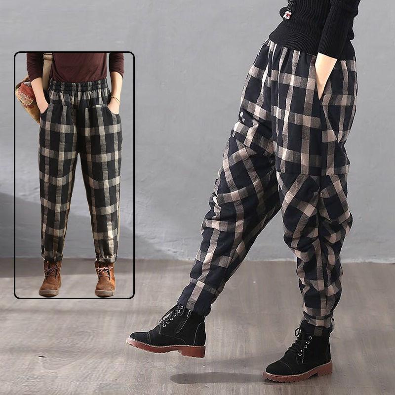 Утолщенные плед брюки женские хлопок 2021 осень зима проверены женщина гарем тощий женский повседневный свободный брюк винтажные женские капризы